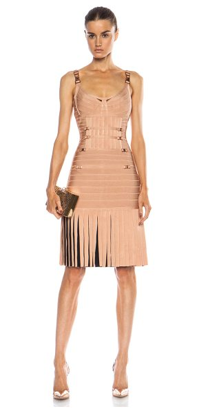 Herve Leger Milena drop waist rayon-blend dress in neutrals - 91% rayon 8% nylon 1% spandex.  Made in China.  Unlined....
