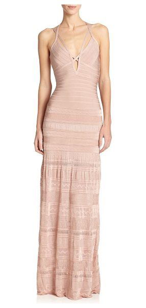 Herve Leger Mixed-media bandage gown in blushrose - A body-skimming design with signature bandage...