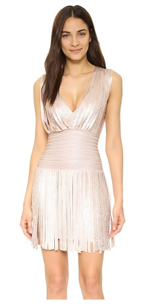 Herve Leger Naomi fringe dress in rose gold combo - This Herve Leger mini dress makes a bold statement with...