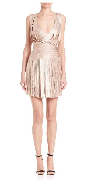 HERVE LEGER naomi fringe foil cocktail dress - Cocktail-ready silhouette with swingy fringe and...