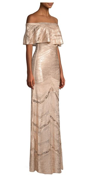 Herve Leger off-shoulder metallic ruffle gown in rose gold - Channeling glamorous Art Deco style, this metallic...