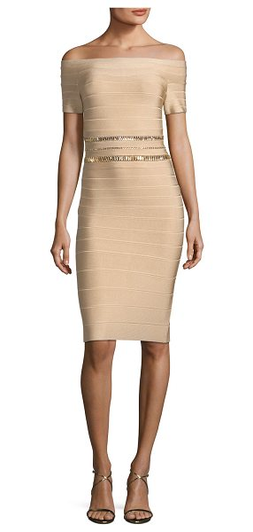 Herve Leger Off-the-Shoulder Bandage Cocktail Dress with Beaded Embellishments in champagne - Herve Leger bandage cocktail dress with beaded inset at...