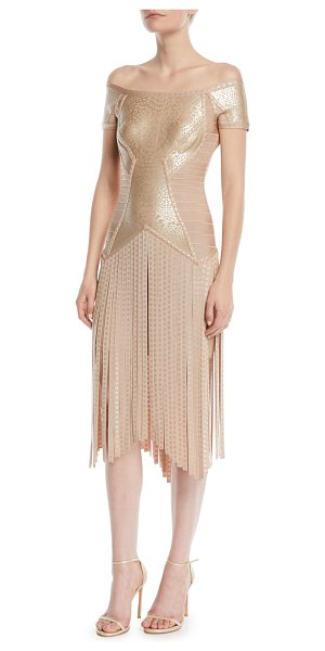 Herve Leger Off-the-Shoulder Foil Fringe Cocktail Dress in gold - Herve Leger metallic bandage cocktail dress....