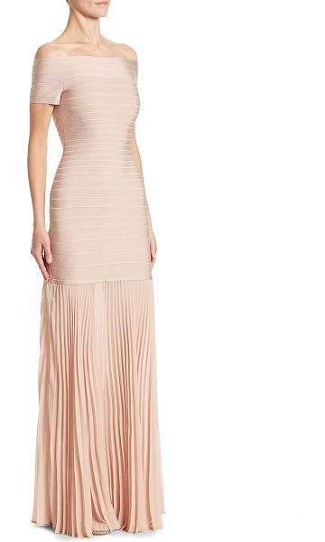 Herve Leger pleated bandage gown in bare - Chic bandage gown with pleated chiffon hem....