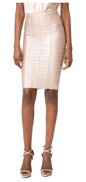 Herve Leger pencil skirt in rose gold combo - A shimmering foil finish lends a sleek, glamorous feel...