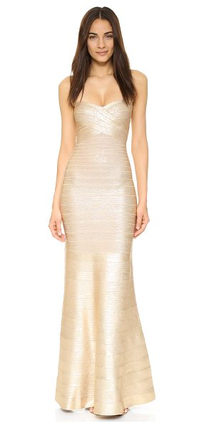 Herve Leger Sara Gown in light gold combo - A glamorous foil finish updates this sleek, shimmering...
