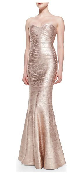 Herve Leger Sara signature metallic bandage gown in rose gold combo - Herve Leger Sara gown in metallic bandage knit that...