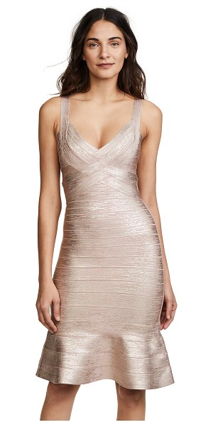 Herve Leger scoop neck midi dress in rose gold combo - Fabric: Foil metallic knit Bandage-style wraps Abstract...