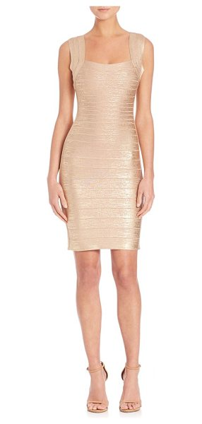 Herve Leger Sleeveless bandage dress in lightgold - Iconic silhouette cast with metallic sheenSquare...