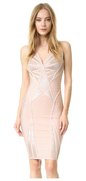 Herve Leger Sleeveless dress in rose blush combo - A classic Herve Leger dress, styled with a deep V...