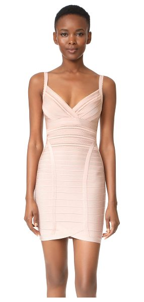 Herve Leger sleeveless dress in bare - This sleek Herve Leger bandage dress is updated with...