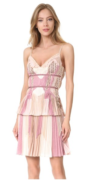 Herve Leger sleeveless dress in champagne - Multicolor chiffon panels with crisp accordion pleats...