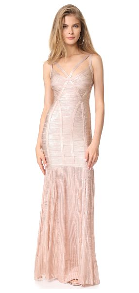 Herve Leger sleeveless dress in rose gold - Embroidered banding accentuates the bold lines of this...