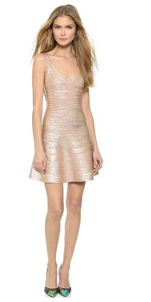 Herve Leger sleeveless dress in rose gold - Lustrous metallic coating lends dimension to a classic...