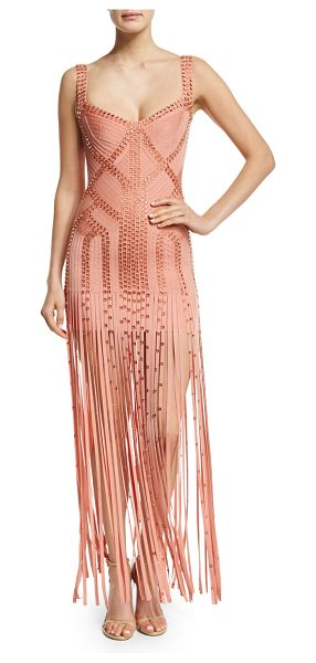Herve Leger Sleeveless Embellished Bandage Gown in blush - Herve Leger embellished signature bandage knit gown....
