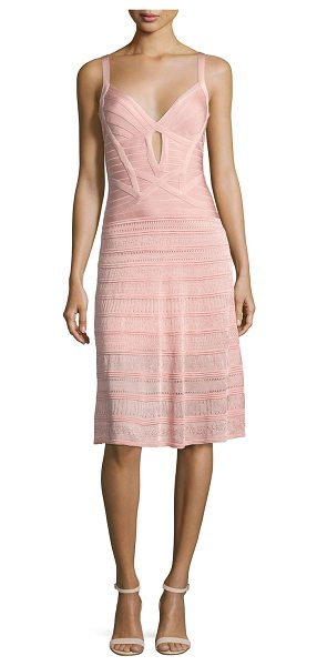 Herve Leger Sleeveless Keyhole Bandage Dress with Knit Skirt in pink - Herve Leger dress with sculpting ribbon details. Deep V...