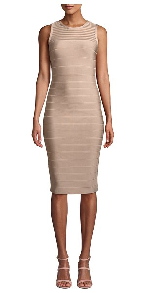Herve Leger Sleeveless Tulle-Striped Illusion Cocktail Dress in light pink