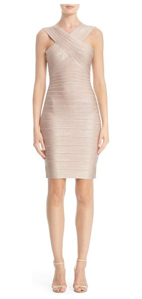 Herve Leger 'stella' crisscross front woodgrain metallic foil bandage dress in rose gold - A crossover bodice shows off shoulders in a body-con...