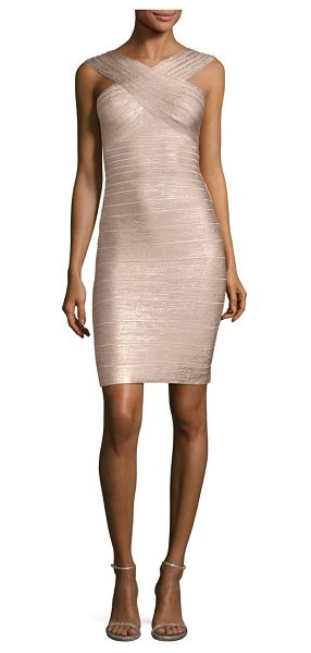Herve Leger stella metallic halter bandage dress in rose gold - Iconic body-con silhouette with crisscross neckline....