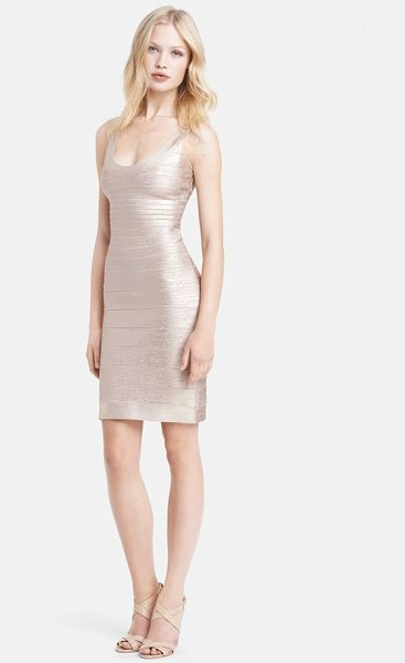 Herve Leger u-neck foil bandage dress in rose gold combo - A plunging double U-neckline enhances the allure of a...