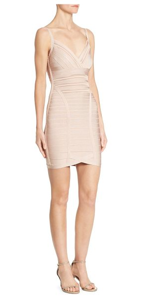 Herve Leger v-neck cocktail dress in bare - Fitted cocktail dress with scalloped trim.V-neck....