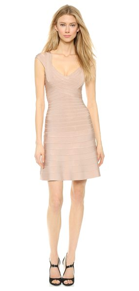 Herve Leger Valerie dress in rose blush - This sexy, flared Herve Leger bandage dress is detailed...