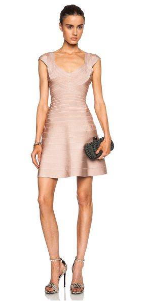 Herve Leger Valerie viscose-blend dress in neutrals - 91% rayon 8% nylon 1% spandex.  Made in China.  Unlined....