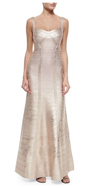 Herve Leger Wide-strap metallic bandage gown in rose gold combo - Herve Leger metallic signature bandage knit gown....