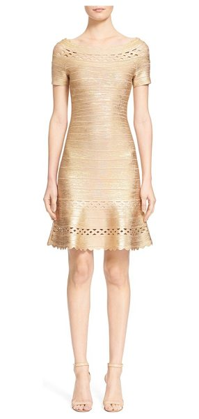 Herve Leger woodgrain metallic bandage dress in gold combo - With its gold metallic sheen, scalloped edges and...