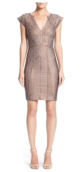 Herve Leger woodgrain metallic foil bandage dress in bronze combo