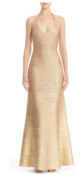 Herve Leger woodgrain metallic foil halter gown in gold combo - Organic woodgrain texture and a resplendent golden sheen...