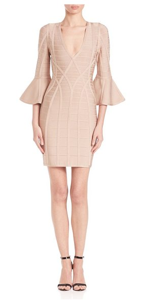 Herve Leger yasmine bell-sleeve dress in dune - Bodycon dress finished with dramatic bell...