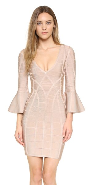Herve Leger Yasmine Dress in dune - Raised seams accentuate the sleek silhouette of this...