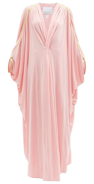 Hester Bly the margot metallic-stripe kaftan maxi dress in pink
