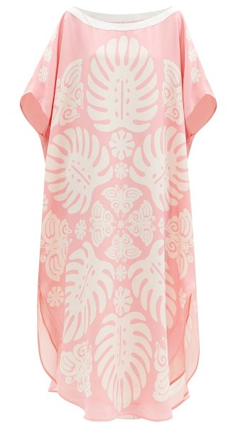 Hester Bly the taula butterfly-print silk tunic dress in pink