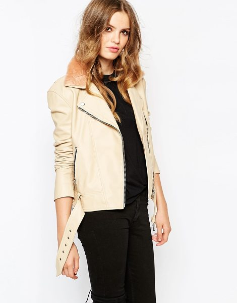 Hide Rita Side Zip Biker Jacket With Shearling Collar and Chunky Belt in pink