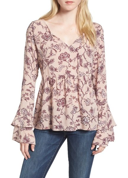 Hinge bell sleeve top in pink adobe floral optimism - Bring the romance in this beautifully draped blouse...