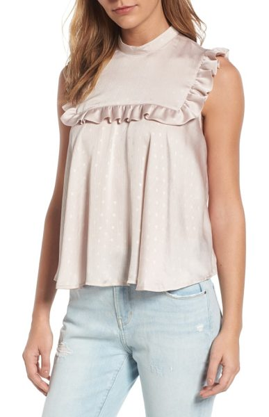 Hinge bib top in tan memoir - Trimmed with romantic ruffles, this soft-to-the-touch...