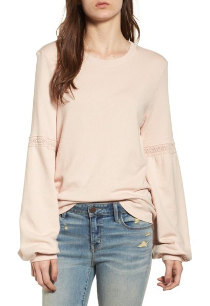 Hinge blouson sleeve sweatshirt in ivory shell - Dainty lace insets highlight the ample blouson sleeves...