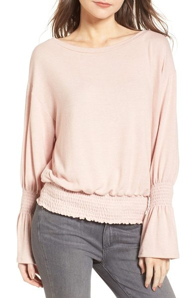 Hinge brushed smocked sweatshirt in pink adobe - As comfy as your favorite sweatshirt, this soft knit top...