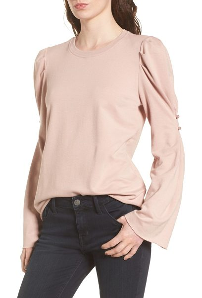 Hinge button detail top in pink adobe - Polished pearly buttons amp up the sweet charm of a soft...