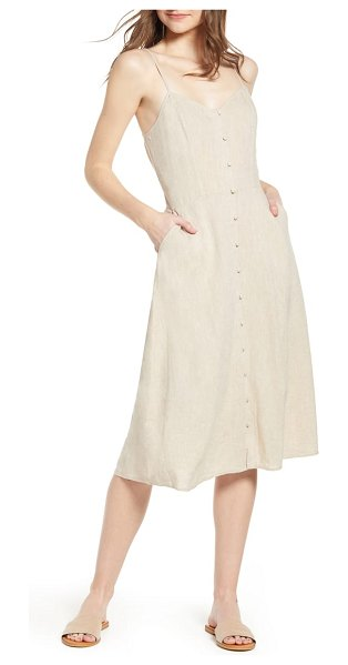 Hinge button front midi dress in beige - Fresh, carefree style is the name of the game with this...