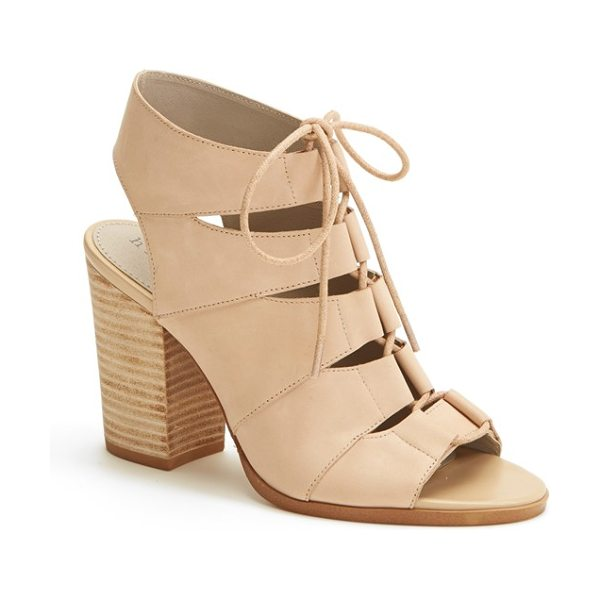 HINGE 'drea' peep toe leather sandal in blush - Eye-catching cutouts intensify the contemporary flair of...