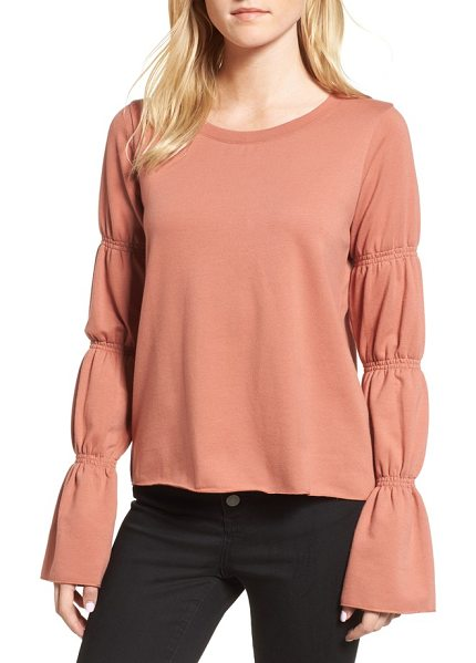 Hinge flare cuff sweatshirt in coral cedar - Update your sweatshirt collection with this pullover...