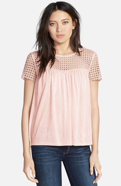 Hinge lace inset knit top in pink peach - A flowy, figure-skimming knit top finds cool, casual...