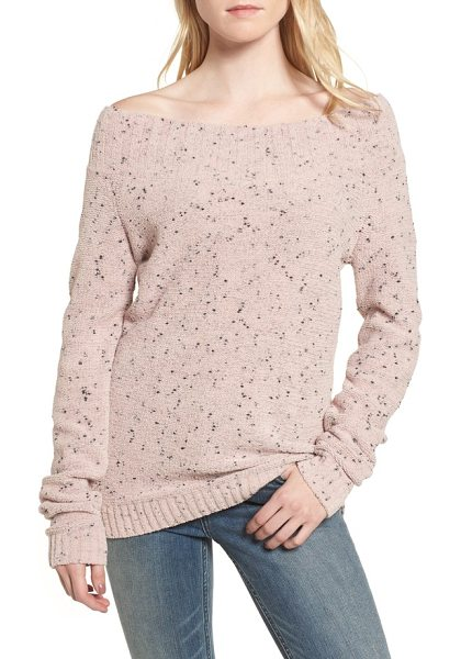 Hinge 'marilyn' sweater in pink adobe chenille combo - A wide bateau neckline and drop-shoulder silhouette...