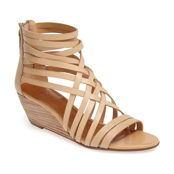 Hinge 'neta' leather wedge sandal in nude - Interlaced leather straps top a breezy zip-back sandal...