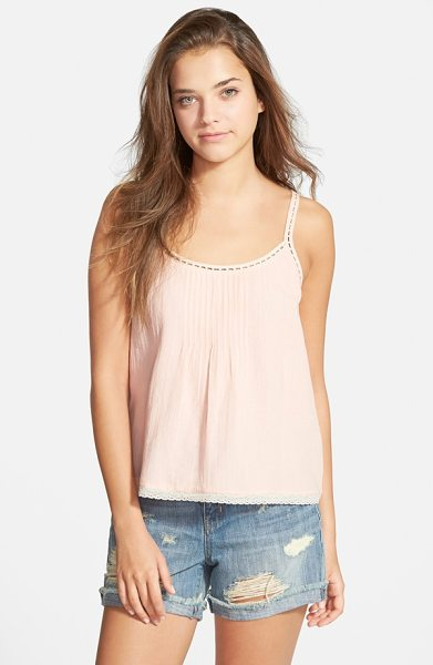 Hinge pintuck tank in pink tropics - Ladder-stitch insets trace the neckline of a cotton tank...