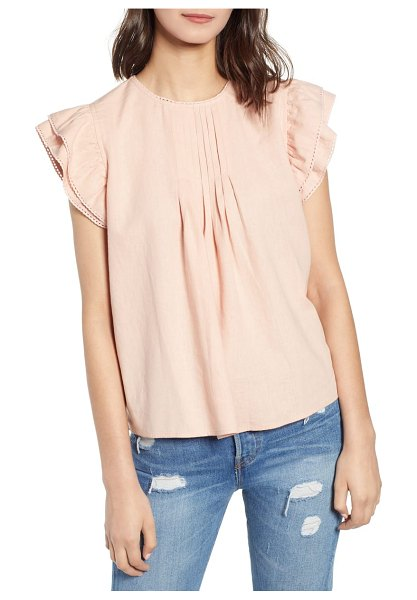 Hinge pleat detail linen blend blouse in pink