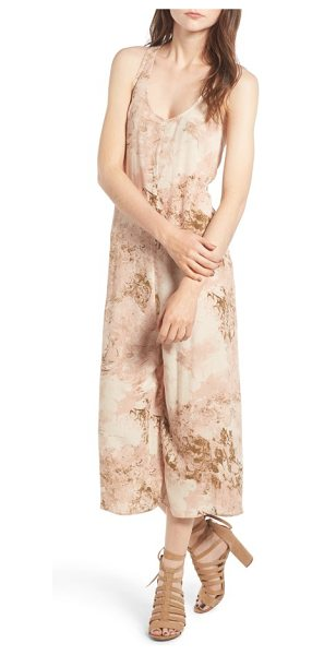 Hinge print racerback culotte jumpsuit in tan mahogany marbling - A mesmerizing print draws attention to this chic...